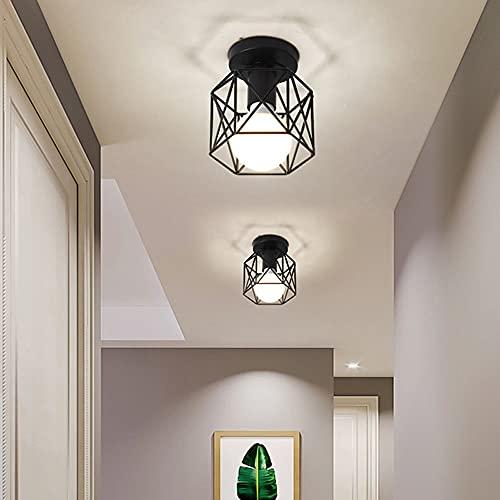 Plafoniera Lampadario, Semi-Flush Mount Vintage Industriale Soffitto Luce, Lampada a Sospensione in metallo nero gabbia ferro per corridoio, portico, camera da letto, ecc