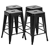 Set of 4 Metal Bar Stools 24 Inches Counter Barstools Indoor/Outdoor Stackable Modern Metal Bar Stools Kitchen Counter Stools Chairs