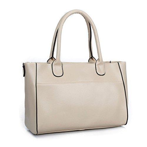 DEERWORD Damen Handtaschen Schultertaschen Umhängetaschen PU-Leder Bowlingtaschen Nicht-Gerade Weiss