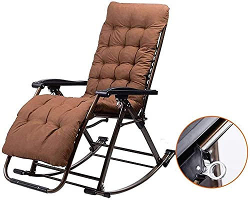 Null Schwerkraftstuhl Schaukelstuhl Outdoor Garden für Erwachsene Relax Comfort |Faltende Sun-Liege-Stuhl-Liegestühle-Liegestühler mit Kissen für Patio-Porch-Garten-Rasen