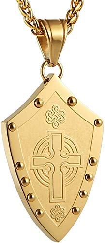 Qualified Men's Warriors Medieval Celtic Knot Irish Cross Stainless Steel Pendant Necklace Silver/Gold Lifetime (Color : Gold)