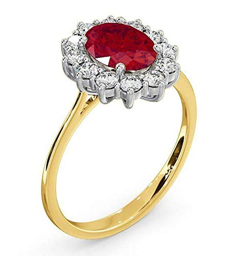 Photo of Ruby and Diamond Ring 18k Yellow Gold Oval Cluster Engagement Certificate Size J – Z