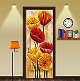 FLFK 3D Pittura ad olio floreale Autoadesiva Adesivo per porta Murale Foto Adesivo da parete decalcomania Casa arredamento 30.3x78.7'