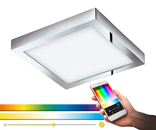 EGLO connect LED Deckenleuchte Fueva-C, Smart Home Deckenlampe, L: 30x30 cm, Farbe: Chrom, dimmbar, Weißtöne und RGB Farben einstellbar, Material: Metallguss, Kunststoff, IP44