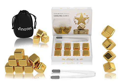 VinoYes Premium Whisky Steine in Gold oder Silber – 8 Wiederverwendbare Kühlsteine als Geschenk-Set in edler Verpackung | Mit Zange + Beutel - Edelstahl Eiswürfel für Gin, Cocktails.