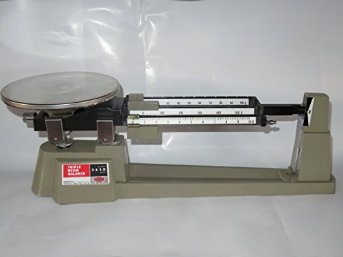 Ohaus 80000012 Triple Beam Mechanical Balance with Stainless Steel Plate, 610g Capacity, 0.1g Readability