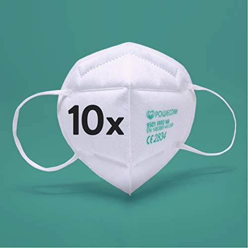 riijk 10x FFP2 Maske CE zertifiziert | Mundschutz Maske mit Echtheits-Check | zertifiziert nach allen gesetzl. Vorgaben aus Deutschland | Powecom | Atemschutzmaske Gesichtsmaske FFP2 NR | CE 2834
