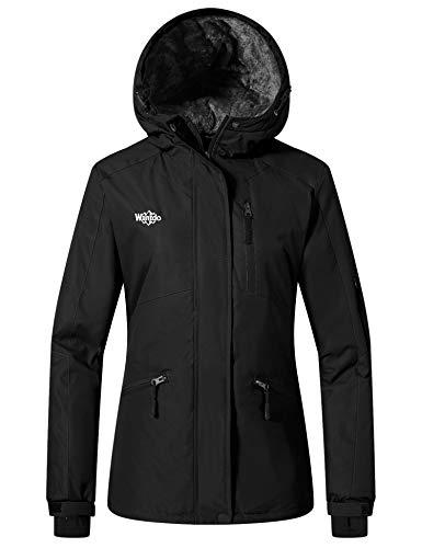 Wantdo Women's Waterproof Ski Jacket Mountain Windproof Rain Jacket Black M
