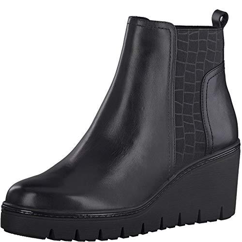 Tamaris Damen Stiefeletten, Frauen Keilstiefeletten,lose Einlage, Boots halbstiefel Wedge-Bootie hoch weiblich Lady Ladies Women,Black,41 EU / 7.5 UK