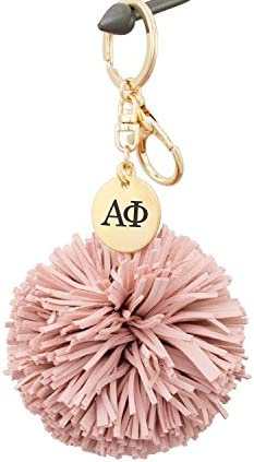 A List Greek Alpha Phi APhi Keychain Gift Sorority Key Chain with Blush Pom Tassel Laser Engraved product image