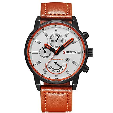 XKC-watches Herrenuhren, Curren Herrn Sportuhr Militäruhr Modeuhr Armbanduhr Einzigartige Kreative Uhr Armbanduhren für Den Alltag Quartz Kalender Echtes Leder (Farbe : Kaki)