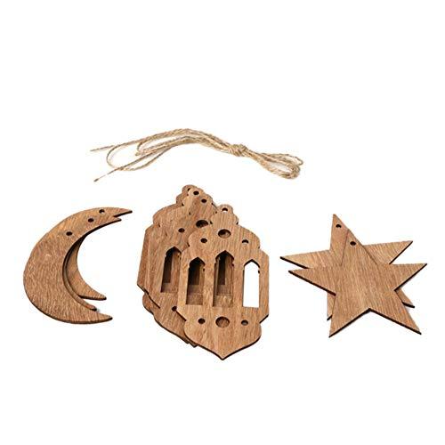 Rubyu Eid Mubarak Ramadan ster en maan lantaarn hout sieraden moslim isslam slinger decoratie thuis kamer tafeldecoratie handwerk kunst 1,5 m