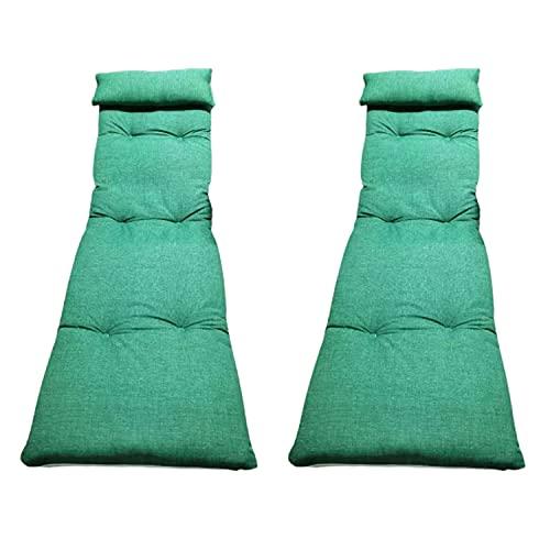Pack 2 Cojín Tumbona Acolchada Colores Lisos 180 x 55 x 5. Incluye Almohada. Colchón para Tumbona o Silla de Playa (Verde)