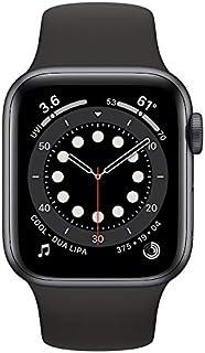 ساعة أبل الاصدار 6 (جي بي إس، 40 ملم) - هيكل من الألومنيوم الرمادي الفضائي مع سوار رياضي باللون الأسود (موديل عادي)
