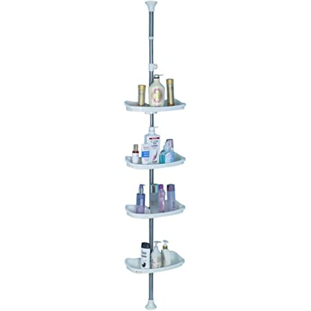 Baoyouni Bathroom Tension Pole Corner Shower Caddy Telescopic Shower Storage Rack Organizer 4 Tier Adjustable Rectangle Shelves Ivory Home Kitchen
