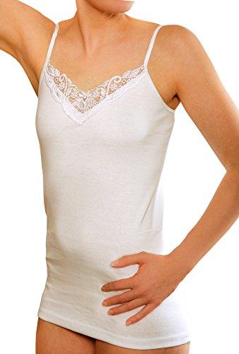 Yenita® Women's Cotton Undershirt Spaghetti Strap with Lace (Pack of 4) Size 40/42