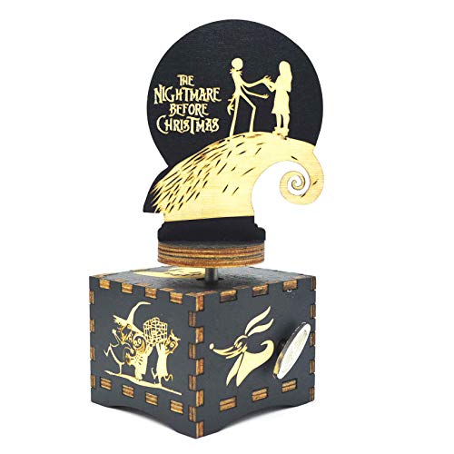 Caja de música Micteney The Nightmare before Christmas Music Box,Caja de música Nightmare before xmas,Reloj de madera/bobinadora conducido,Pesadilla antes de Navidad Decoraciones/Regalos
