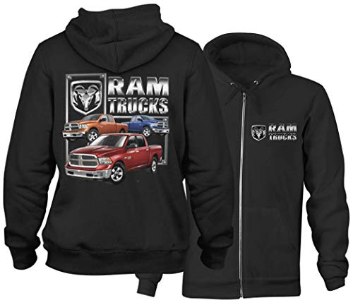 Offizielle lizenzierte Chrysler Dodge Ram Trucks Männer Kapuzenpullover Hoodie (S, Schwarz)