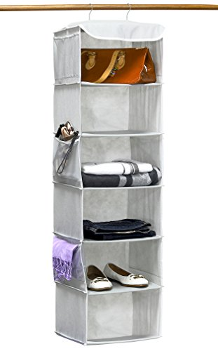 Simple Houseware 6 Shelves Hanging Closet Organizer Gray