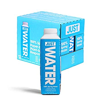 JUST Water Premium Pure Still Spring Water in an Eco-Friendly BPA Free Plant-Based Bottle - Naturally Alkaline High 8.0 pH - Fully Recyclable Boxed Water Carton 16.9 Fl Oz  Pack of 12