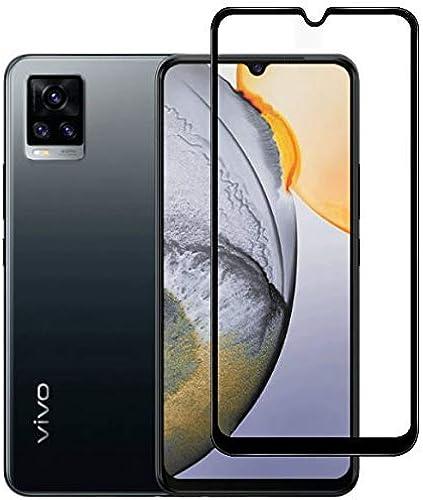 Soezit Anti Glare Scratch Proof Full Coverage 5D Tempered Glass for Vivo V20 Black