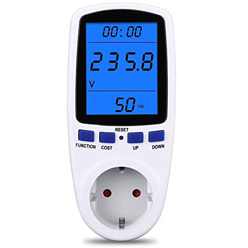 Strommessgerät Stromzähler für Steckdose, Energiekostenmessgerät Stromkostenmessgerät Stromverbrauchszähler Stromverbrauch-Messgerät Leistungsmesser, LCD-Hintergrundbeleuchtung 360 °-Lesbar Dispaly