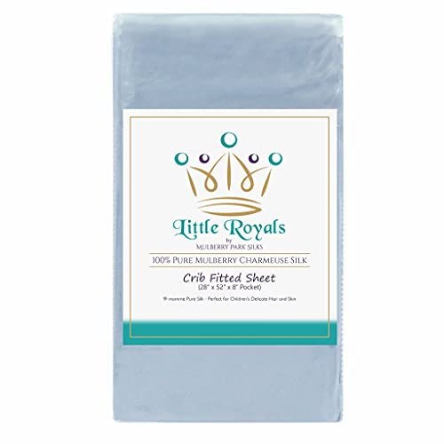Mulberry Park Fitted Silk Crib Sheet - Bedtime Blue - Grade 6A Pure 19 Momme Toddler Bedding - Gentle on Baby's Dry Skin, Helps with Bald Spot, Eczema, & Cradle Cap - Oeko-TEX Certified