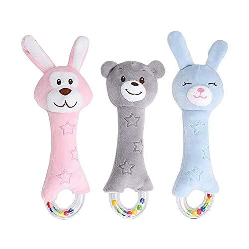 Sonajero sonajero animal de juguete, juego de sonajero para bebés tela suave con campana instrumentos musicales juguetes sensoriales sonajero de dibujos animados para niños niños niñas 0 1 2 3 4 5 6