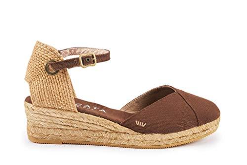 Viscata Espadrilles-Sandalen mit Knöchelriemen, geschlossene Zehenpartie, klassisches Espadrilles-Design mit 5-cm-Absatz, gefertigt in Spanien, braun - braun - Größe: 41 EU