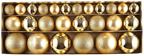 HEITMANN DECO 26er Set Christbaumkugeln 4/6/8 cm Weihnachtsdeko - Weihnachtsschmuck zum Aufhängen in verschiedenen Größen - Kunststoffkugeln Gold