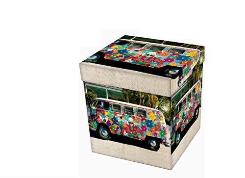 Biancheria Store Pouf Multicolor Contenitore Hippy Scatola Sgabello Poggiapiedi Pieghevole Salvaspazio cm 38x38x38 -