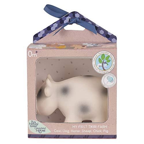 Tikiri 8595014 Naturkautschuk Rassel in Geschenkbox, Kuh, für Babys und Kinder ab 0+ Monaten