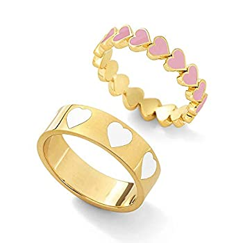 2PCS Colorful Heart Ring Gold Band Rings Set for Women Girl Couple Cute Love Heart Plain Stackable Finger Ring Wedding Love Promise Ring  White+Pink