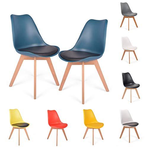 Mingone 2er Set Esszimmerstühle mit Massivholz Buche Bein, kein recycelter Kunststoff Gepolsterter lStuhl Küchenstuhl Holz (Blau)