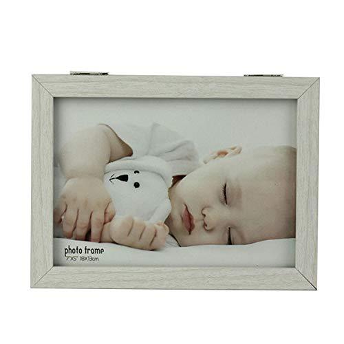 Home Me フォトフレーム 2L 手形 足型 赤ちゃん ベビーフォトフレーム 木製 ガラス 卓上 出産祝い 内祝い ベビー記念品 ホワイト