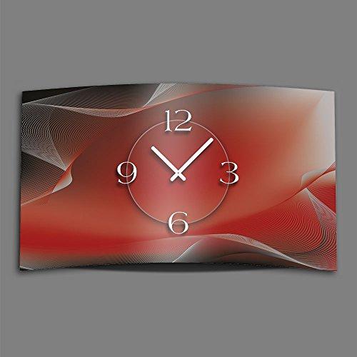Dixtime 3D-0145 Horloge murale design silencieuse, sans bruit de tic-tac Style abstrait et moderne Gris/rouge