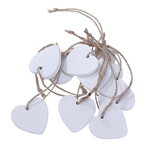 UEB 10pcs Cuore Legno da Appendere Abbellimenti Legno Craft Forme Appeso Ornamenti Fai da Te Bomboniere Decorazioni per Matrimonio Feste 4x4cm (Bianco)