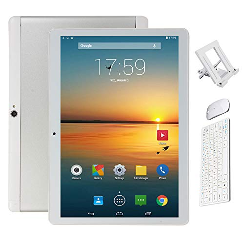 BESTSUGER Android Tablet, (10, 1 Zoll) Tablet-PC mit Bluetooth Maus und Tastatur (1.5 GHz Octa-Core, 2 GB RAM, 32 GB ROM,1280 x 800 IPS HD, Android 8.0), Dual Kamera/SIM 3G Tablets,Silber