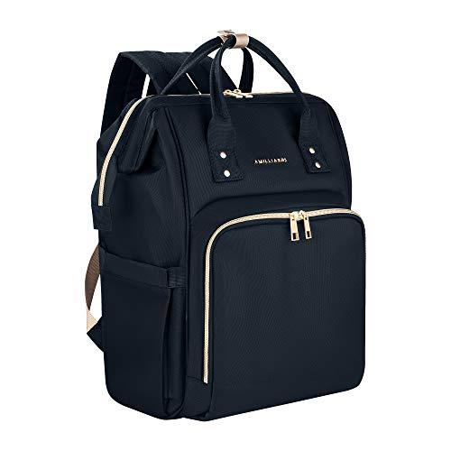 Diaper Bag Backpack - 6 Insulated Bottle Holders - Detachable Stroller Straps