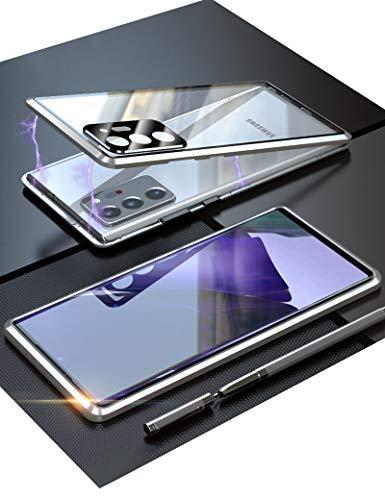Galaxy Note20 Ultra 5G ケース ギャラクシーノート20ウルトラ au SCG06 対応 Uovon スマホケース アルミバンパー マグネット式 カメラレンズ保護 ガラスカバー 指紋認証対応 ・ シルバー