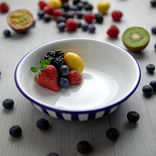 City to Cottage | Assiette creuse Bol à soupe, à céréales, à salade, à pâtes | à rayures bleu marine et blanches en céramique faite et peinte à la main | 18,5cm / 400ml