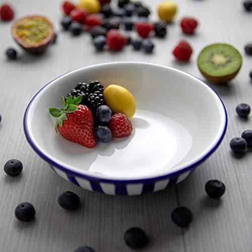 City to Cottage   Assiette creuse Bol à soupe, à céréales, à salade, à pâtes   à rayures bleu marine et blanches en céramique faite et peinte à la main   18,5cm / 400ml