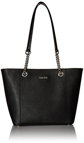 Calvin Klein Hayden Saffiano Leather East/West Top Zip Chain Tote, Black
