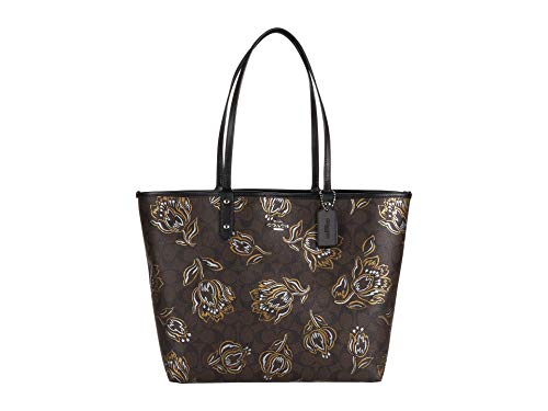 COACH Signature Metallic Tulips Print Reversible City Tote Chestnut Metallic/Black One Size
