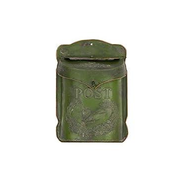 Creative Co-op DA5059 Green Embossed Tin Post Letter Box