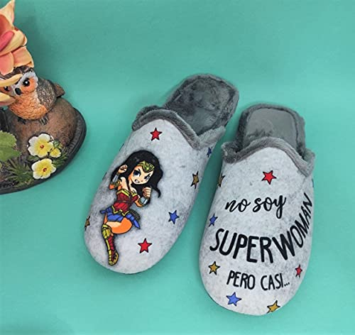 Sevillas - Zapatillas Casa Mujer Fantasía | Chinela Juvenil Dibujos Plana (Superwoman Gris, 37, numeric_37)