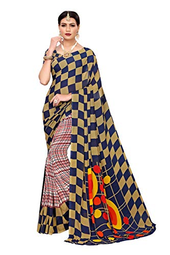 Indischer Sari, traditioneller Kunst-Georgette, Sari, Pakistanisch, ethnisch, Hochzeit, Bollywood, Modekleidung - - Einheitsgröße