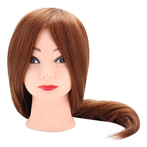 Tête de perruque avec des cheveux, 20 pouces brun clair coiffure coiffure coiffure formation mannequins de cheveux de tête, hautement simulation, cheveux doux et distribution uniforme