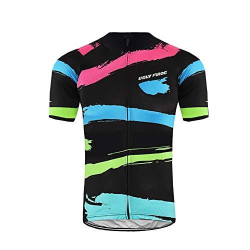 Uglyfrog Sommer Herren MTB Radtrikot Kurzarm Herren Atmungsaktiv Fahrrad Trikot Full Reißverschluss Schnell Trocken Radsport Bici Cycling Jersey Sports Wear