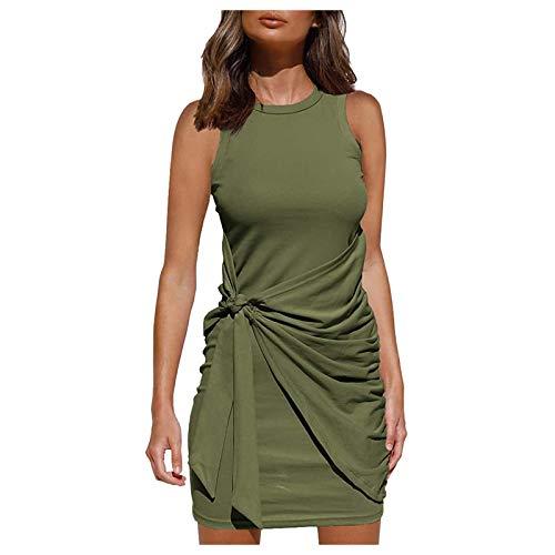 GLZBD 2021 - Vestido de noche elegante, sexy, vestido de cóctel de verano, falda larga ajustada, vestido de ceremonia para niña, talla grande, sin mangas Vert2. XXXL